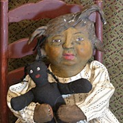 """Lula"" A Primitive one of a kind Folk art Black doll"