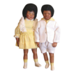 Great original Black bisque  brother and sister doll's
