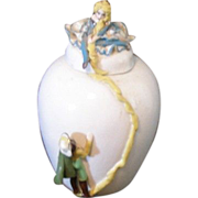 SALE Pretty one of a kind porcelain vase with Rapunzel