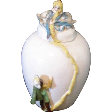 Pretty one of a kind porcelain vase with Rapunzel