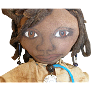 SALE Wonderful primitive Black folk art doll