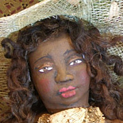 'Miss Netti&quot; One of a kind sculpted Black Folk Art doll