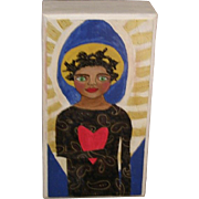 Great Folk Art painting of a beautiful Black Angel