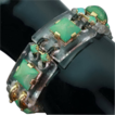 Art Deco bracelet with rock crystal, turquoise and black enamel