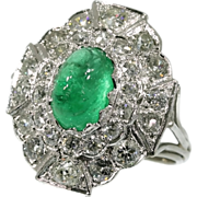 Vintage emerald ring diamonds 18K white gold 1920s fine jewelry