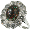 Estate black opal diamond engagement ring