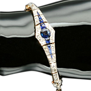 Estate sapphire diamond bracelet hand engraved
