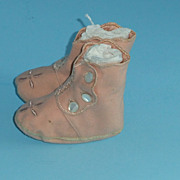 SOLD Vintage Pink Wool High Tops Childrens Shoes or Doll Shoes