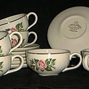 Six Cups And Saucers In The Minerve Rose Pattern