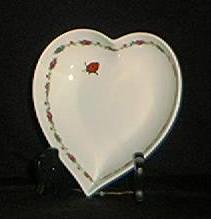 Heart Shaped Dish With Lady Bug Decoration