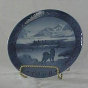"Royal Copenhagen 1968 Christmas Plate ""The Last Umiak"""