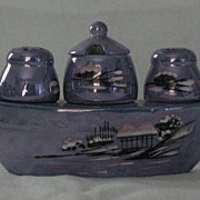 "Blue Luster Condiment Boat ""Made In Japan"""
