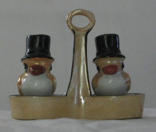 Gold Luster Salt And Pepper Shakers With Handled Tray