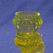 Degenhart Vaseline Glass Toothpick Holder In Bird Form