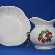 McCoy Strawberry Decorated Pitcher And Bowl Set