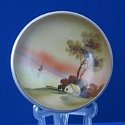 Sailboat On A Lake Decorated Three Footed Nippon Bowl