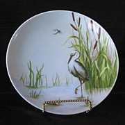 SALE Artist Signed Hand Painted Heron Decorated Plate
