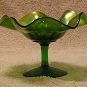 Green Carnival Glass Compote