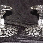 "Cambridge ""Rosepoint"" Footed Single Candlesticks"