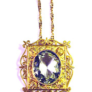 SALE MUSEUM-WORTHY Georgian 20 Ct. Aquamarine/20k Pendant on 18k Chain, 1820!
