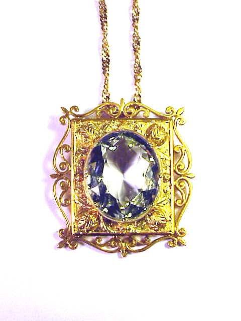 MUSEUM-WORTHY Georgian 20 Ct. Aquamarine/20k Pendant on 18k Chain, 1820!