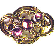 TOP QUALITY Pink Topaz/9kt Lover's Knot Brooch w/Hair Token, c.1840!
