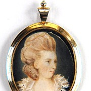 BEAUTIFUL French Portrait Miniature of a Lady in Original Silver Gilt Pendant Frame, c.1775!
