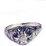 SALE BARGAIN 20 pt. OEC Diamond Solitaire/18k Ring, c.1920!