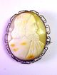 FINE Large Cameo of Jesus in Silver Gilt Brooch, c.1875!