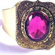 REDUCED RESPLENDENT Early Victorian 14k/Ruby Paste Custom-Made Bracelet, 25.4 Grams, c.1844!