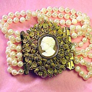 SALE SUPERLATIVE Pinchbeck Cannetille & Cameo/Cultured Pearl Bracelet, c.1825!