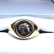 SALE BEST Unisex 14k Ring w/Ancient Greek Silver Obol Coin of Alexander the Great, 9.1 Grams,