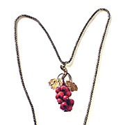 SALE DESIRABLE Victorian 9k Necklace w/14k Coral Grape Cluster Pendant, c.1870!