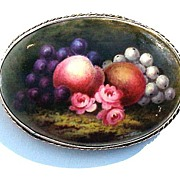SALE BOUNTIFUL Large Hand-Painted 9k Pendant/Brooch, Fruit & Flowers, c.1885!