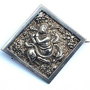 SALE EXOTIC Victorian Colonial Indian Sterling Repousse Brooch, Hindu Deity, c.1865!
