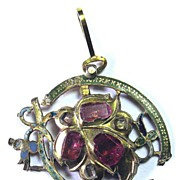 SALE MASTERPIECE Renaissance Ruby/Diamond/Champleve Enamel/22k Pendant, Cyrillic Inscription,