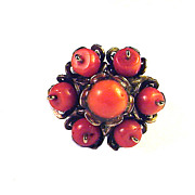 SALE RADIANT Late Georgian Red Coral/Silver Gilt Flower Motif Ring, c.1830!