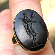 BEST Neoclassical Jasper Intaglio of Mars Set in Unisex Victorian 14k Ring, 5.4 Grams, c.1770!