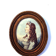 SALE LOVELY English Portrait Miniature of a Pretty Young Girl w/Auburn Hair, c.1790!