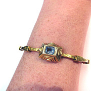 SALE PERFECT Victorian Tudor Revival 1.5 CT. Sapphire/18k Bracelet, 13.65 Grams, c.1855!