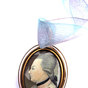 SALE DANDY Georgian Portrait Miniature of a Fashionable Young Officer in Gilt Locket w/Hair To