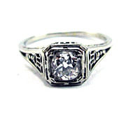 SALE BEST EVER .43 Ct. OMC Diamond Solitaire/18k Ring w/$2,150.00 GIA Appraisal, c.1925!
