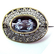 SALE EXQUISITE Georgian En Grisaille Enamel/Silver Gilt Brooch, Frolicking Cherubs, c.1820!