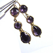 SALE MUSEUM-WORTHY Georgian Amethyst/9k Drop Earrings, c.1815!