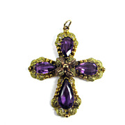 SALE HEAVENLY 3&quot; Georgian Amethyst Paste/Pinchbeck Cross Pendant, c.1830!