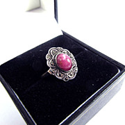 SALE BARGAIN Natural Edwardian 2.53 Ct. Star Ruby/Marcasite/Sterling/9k RIng, c.1905!