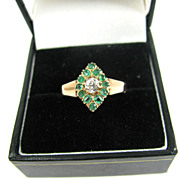 SALE STUNNING Victorian OEC Diamond/Emerald/15k Ring, c.1890!