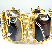 SALE SUBLIME Late Georgian Banded Agate/Pinchbeck Bracelet, c.1830!