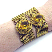 SALE MATCHING PAIR of Georgian Pinchbeck/Citrine Paste Bracelets, c.1825!