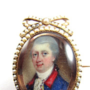 SALE SPLENDID English Miniature Portrait in Pearl/9k Brooch, Military Gentleman w/Hair Locket,